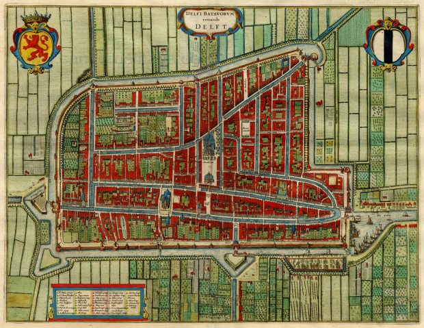 Antique_map_of_Delft,_Netherlands_by_Blaeu_J._1649