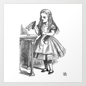 drink-me-vintage-alice-in-wonderland-emo-goth-antique-book-sketch-drawing-print-prints